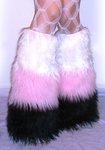3 Tone Furry Leg Warmers UV White / Baby Pink / Black