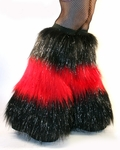 3 Tone Sparkle Furry Leg Warmers UV Red and Black