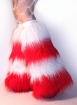 4 Tone Glitter White - Red Furry leg warmers Boot Covers