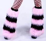 5 Tone Baby Pink / Black Furry Leg Warmers