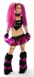 Black and Clear Purple Vinyl and Fur Outfit