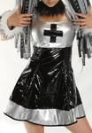 Black and Silver Vinyl Cyber Dress