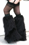 Black Fluffy Furry Leg warmers / boot covers