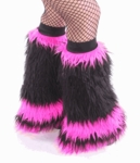 Black / UV Hot Pink Fluffy Leg Warmers, Fluffies