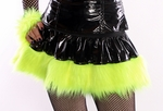 Black Vinyl Neon Yellow Fur Skirt