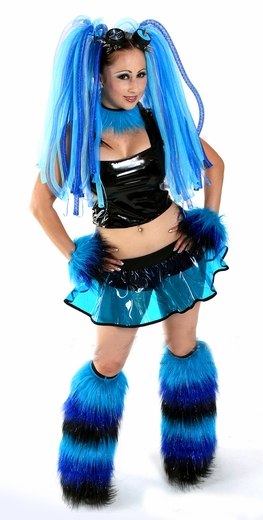 Blue Black Vinyl Rave Outfit And Cyber Fluffies