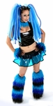 Blue Black Vinyl Cyber Outfit and Fluffies