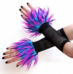 Blue Hot Pink Purple Monster Fur Wrist Cuffs