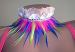 Collar with Pink, Yellow, Blue fur, White Ruffle, Rhinestone