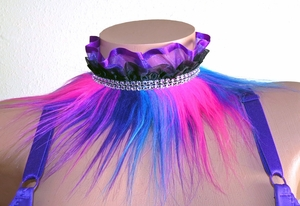 Collar with Purple, Blue, Pink MultiColor Fur, Ruffle, Rhinestone