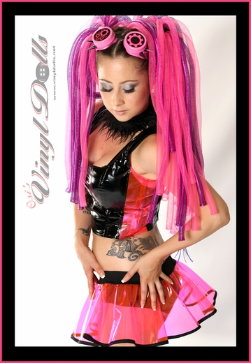 Cyber Goth Clear UV Hot Pink Vinyl Skirt