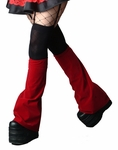 Cyber goth Deep Red Velvet leg warmers/ boot covers