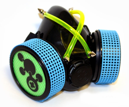 Cyber Goth Gas Mask Respirator UV Lime & Blue