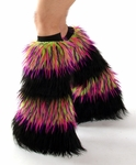 Fluffies - 4 Stripe Monster Lime Pink Purple / Black