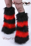Fluffy Leg Warmers 5 Tone UV Bright Red / Black