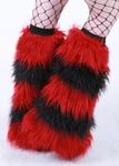 Fuzzy Leg Warmers 5 Tone Deep Red / Black