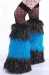 *Glitter* 3 Tone Black / Neon Blue Furry Leg Warmers