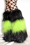 *Glitter* 3 Tone Black / UV Lime Green Furry Leg Warmers