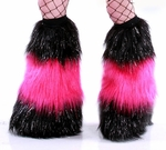 *Glitter* 3 Tone Furry Leg Warmers Black / UV Hot Pink