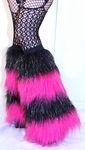 *Glitter* 4 Tone UV BLACK - HOT PINK Furry Fluffy Leg Warmers