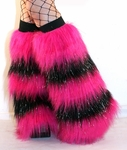 *Glitter* 5 Tone Hot Pink Black Furry Leg Warmers Fur Boot Covers
