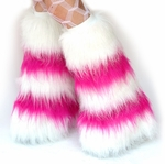 *Glitter* 5 Tone UV Neon Hot Pink / White Furry Leg Warmers