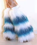 *Glitter* 5 Tone UV White / Neon Blue Furry Leg Warmers / Boot Covers