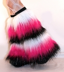 *Glitter* 6 Tone UV White/Hot Pink/Black Furry Fluffy Leg Warmers
