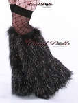 Glitter Black Furry Leg Warmers Rave Fluffy Boots