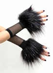 Glitter Black Furry Wrist Cuffs