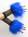 Glitter Royal Blue Fluffy Wrist Cuffs