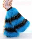 Glitter striped 5 Tone UV Neon Blue Black Furry Leg Warmers