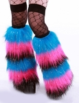 Glitter Stripy Neon Blue, Hot Pink, Black Fuzzy Leg Warmers