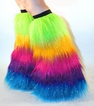 *Glitter* UV Rainbow Furry Leg Warmers, Boot Covers