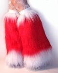 Sparkle UV Red White *Santa Boots* Leg Warmers Fur Boot Covers