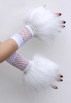 Glitter White Fluffy Wrist Cuffs