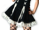 Gothic Lolita Black Velvet w/ White Lace Skirt
