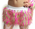 Hot Pink, Lime, White Furry Monster Skirt