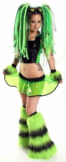 Lime Black Vinyl and Fur CyberGoth Outfit