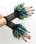 Lime Blue Black Monster Fur Wrist Cuffs