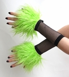 Lime Green Furry Wrist Cuffs