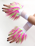 Lime Hot Pink White Monster Fur Wrist Cuffs