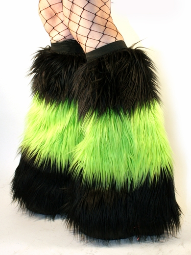 Long Faux Fur Black / UV Lime Green Fuzzy Boot Covers
