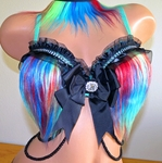 Multi Color Aqua Furry Rave Bra
