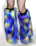 Multi-Color Purple Blue Yellow Fur Fluffies