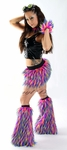 Pink Yellow Blue Fluffy Monster Rave EDC Outfit Clothing