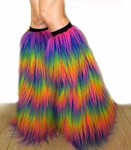 Rainbow Rave Fluffies Furry Leg Warmers