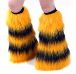 Rave Fluffies Striped Sparkle UV Yellow and Black Boot Covers