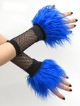 Royal Blue Furry Wrist Cuffs