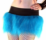 Sparkle Neon Blue Furry Skirt